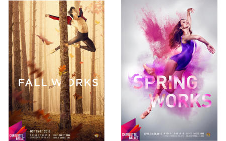 "Gregory Taylor and Alessandra James.  ""Fall Works"" and ""Spring Works"" campaign designs by Mythic."