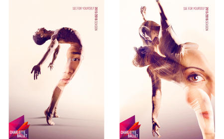 "Juwan Alston and Josh Hall with Alessandra James.  ""See for Yourself"" campaign designs by Mythic."
