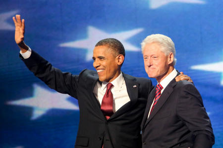 Presidents Barack Obama and Bill Clinton